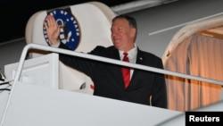 Le secrétaire d'État américain Mike Pompeo, lors de son départ pour l'Arabie Saoudite, le 17 septembre 2019.