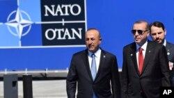 2017'de Brüksel'deki NATO toplantısına Dışişleri Bakanı Mevlüt Çavuşoğlu ve o dönem Enerji ve Tabii Kaynaklar Bakanı damadı Berat Albayrak'la gelen Cumhurbaşkanı Erdoğan