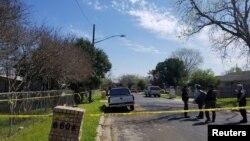 Hiện trường vụ nổ bom thư ở khu vực phía đông Austin, bang Texas, bị phong tỏa ngày 12/3/2018.