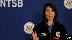 데보라 허스먼 미국 연방교통안전위원회 위원장이 9일 기자회견에서 아시아나 사고와 관련 발언하고 있다.