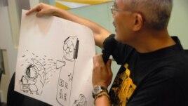 尊子漫畫諷刺毒害香港子女的國民教育由中國製造,香港教育局長吳克儉身不由己
