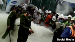 Tin tức trong nước cho hay vào khoảng 1 giờ ngày 28/2, đã xảy ra một vụ 'xô xát' giữa công nhân và bảo vệ của công ty Samsung Display tại Khu công nghiệp Yên Phong Viglacera, Bắc Ninh. (Photo: Facebook Hòa Đại Nhân)