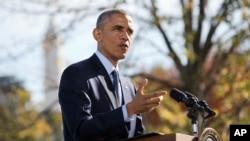 Tổng thống Obama nói chuyện với các nhà báo tại Tòa Bạch Ốc về Ebola, 28/10/14