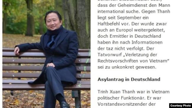 Ảnh chụp màn hình nhật báo Đức Taz đưa tin về vụ bắt cóc Trịnh Xuân Thanh ở Berlin hôm 23/7