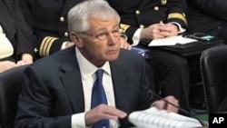 Menteri Pertahanan Amerika Chuck Hagel di Gedung Capitol, Washington DC (5/3).
