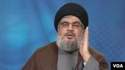 Pemimpin kelompok militan Hezbollah Lebanon, Syekh Hassan Nasrallah memberikan pidato di televisi (24/6).