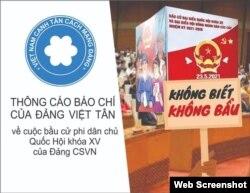 Ảnh minh họa thông cáo ngày 21/5/2021 của Việt Tân về cuộc bầu cử ở Việt Nam.