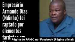 Mensagem divulgada pelo PAIGC nas redes sociais