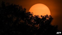 The sun is pictured behind trees during sunrise in Karak, outside Kuala Lumpur in nearby Pahang state early on April 6, 2018. (AFP PHOTO / Mohd RASFAN)