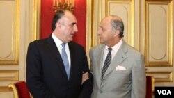 Azərbaycanın xarici işlər naziri Elmar Məmmədyarov Fransa xarici işlər naziri Loran Fabiusla görüşüb