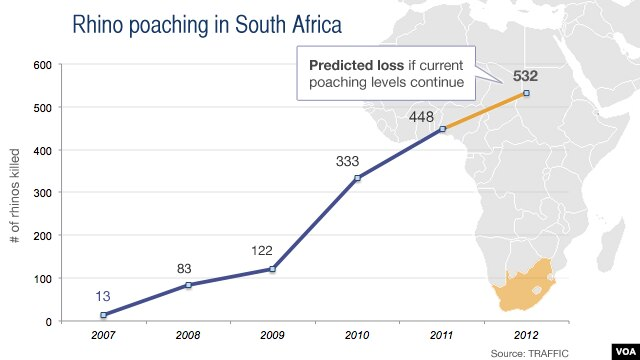 Rhino poaching in South Africa, 2007-2012