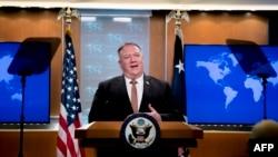美國國務卿蓬佩奧在國務院舉行的記者會上講話。(2020年7月15日)