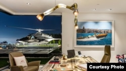 The helicopter is shown outside a window of America's most expensive home, which is for sale in the Bel Air neighborhood of Los Angeles, California, for $250 million. (Bruce Makowsky / BAM Luxury Development)