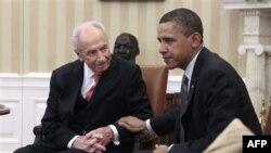 Tổng thống Hoa Kỳ Barack Obama (phải) hội đàm với Tổng thống Israel Shimon Peres tại Tòa Bạch Ốc