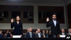 脸书和推特最高主管2018年9月5日到国会作证(美联社)