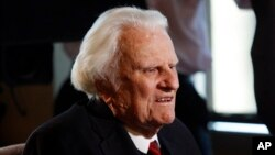 In this Dec. 20, 2010, file photo, evangelist Billy Graham, 92, speaks during an interview at the Billy Graham Evangelistic Association headquarters in Charlotte, N.C.