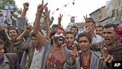 Anti-government protesters, chant slogans during a demonstration demanding the resignation of Yemeni President Ali Abdullah Saleh, in Sana'a, Yemen, Wednesday, June 1, 2011