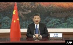 中国国家主席习近平在世界卫生大会视频开幕式上发表视频讲话。(2020年5月18日)