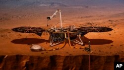 This 2018 illustration from NASA shows the InSight lander drilling into Mars. InSight, short for Interior Exploration using Seismic Investigations, Geodesy and Heat Transport, launched from Vandenberg Air Force Base on Saturday, May 5, 2011.