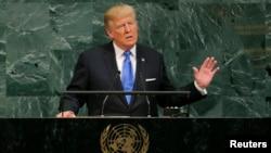 도널드 트럼프 미국 대통령이 19일 뉴욕 유엔본부에서 열린 72차 유엔총회에서 기조연설을 하고 있다.