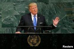 U.S. President Donald Trump addresses the 72nd United Nations General Assembly at U.N. headquarters in New York, U.S., September 19, 2017. REUTERS/Lucas Jackson
