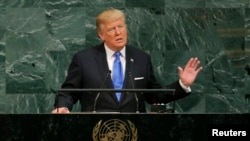 FILE - U.S. President Donald Trump addresses the 72nd United Nations General Assembly at U.N. headquarters in New York, Sept. 19, 2017.