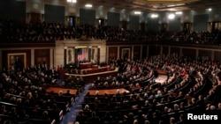 Presiden Amerika Serikat, Donald Trump, menyampaikan pidato kenegaraan (State of the Union) pertamanya di hadapan Kongres AS di Gedung Capitol, Washington, D.C., 30 Januari 2018. (Foto: dok).