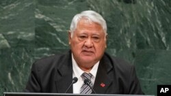 FILE - Then Samoa's Prime Minister Tuilaepa Sailele Malielegaoi addresses the 74th session of the United Nations General Assembly at the U.N. headquarters in New York.
