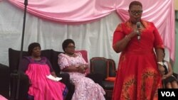 Thokozani Khupe addressing some opposition leaders and supporters in Harare.