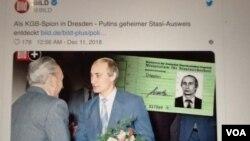 德國圖片報有關普京擁有前東德秘密警察史塔西工作證的報道(美國之音白樺拍攝)
