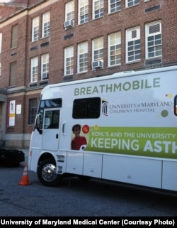 The Breathmobile visits Baltimore schools such as Historic Samuel Coleridge-Taylor to monitor and treat youngsters with asthma, a leading cause of absenteeism.