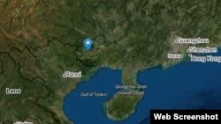 Bản đồ thị trấn Sùng Tả, thuộc tỉnh Quảng Tây, Trung Quốc (màu xanh dương) và khu vực biên giới Trung - Việt. Photo mapnall.