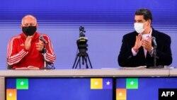 El presidente en disputa de Venezuela, Nicolás Maduro, junta a Diosdado Cabello, presidente de la Asamblea Nacional Constituyente. Foto: Jhon Zerpa / Presidencia de Venezuela / AFP.