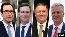 از راست: رابرت اوبرایان، مایک پمپئو، جرد کوشنر و استیون منوشن، درباره این توافق اظهارنظر کردهاند.
