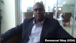 Olivier Bile, président de l'union pour la fraternité, favorable aux primaires de l'opposition au Cameroun, 21 mars 2017. (VOA/Emmanuel Ntap)