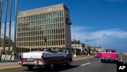 The United States Embassy in Havana, Cuba is seen here in this Oct. 3, 2017 file photo. The U.S. government is facing new pressure to find out whether American diplomats were attacked with microwaves or radio waves. (AP Photo/Desmond Boylan, File)