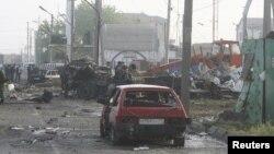 Lokasi kejadian ledakan dua bom di Makhachkala (4/5). Sedikitnya 20 orang tewas dan lebih dari 30 orang terluka dalam insiden ini.