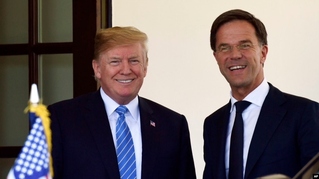 川普總統在白宮會見荷蘭首相呂特