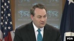 美国国务院代理副发言人文特雷尔。(美国之音视频截图)