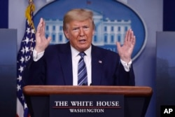 President Donald Trump speaks during a coronavirus task force briefing at the White House, April 5, 2020, in Washington.