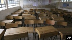 FILE - General view of an empty classroom at St Mary Primary School in Nairobi, Kenya, Sept. 6, 2011, because of a teachers' national strike.