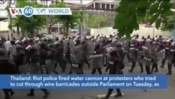 VOA60 Addunyaa - Thai Police Fire Water Cannons and Tear Gas at Pro-Democracy Protestors