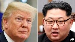 美國總統川普(左),北韓領導人金正恩