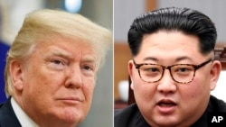 FILE- In this combination of file photos, U.S. President Donald Trump, left, in the Oval Office of the White House in Washington on May 16, 2018, and North Korean leader Kim Jong Un in a meeting with South Korean leader Moon Jae-in in Panmunjom, South Ko
