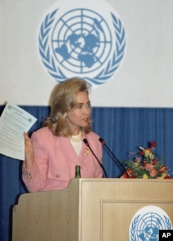 FILE - In this Tuesday, Sept. 5, 1995 file photo, first lady Hillary Clinton addresses a panel on women's health and security at the U.N. Women's Conference in Beijing.