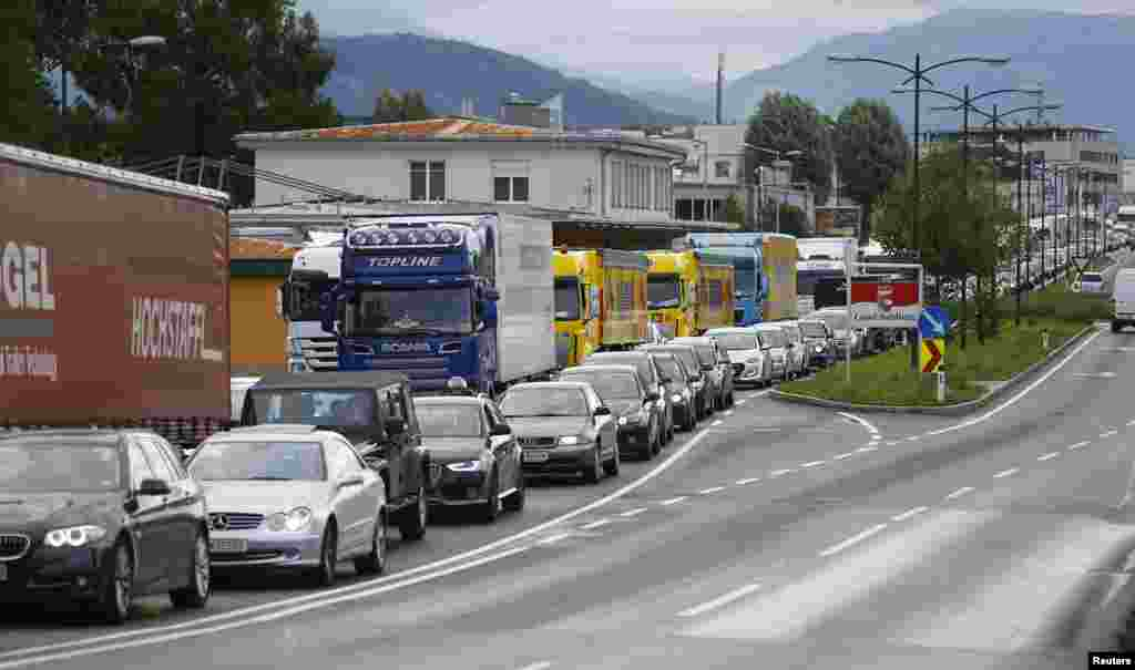 A traffic jam is seen on a road heading to Freilassing, Germany from Salzburg, Austria.