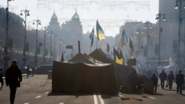 A pro-European Union activist tent camp in the main street of Khreschatyk in Kiev, Ukraine, Tuesday, Dec. 24, 2013.