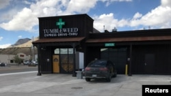 The Tumbleweed Express Drive-Thru, the nation's first first drive-through marijuana dispensary, is shown in Parachute, Colorado, April 19, 2017.