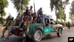 Mayakan Taliban a radar Lahadi a burnin Kabul 15 ga watan Agusta, 2021. (AP Photo/Sidiqullah Khan)