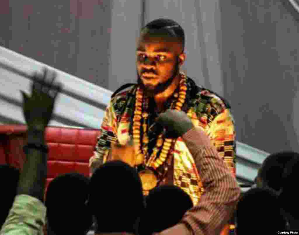 A popular rapper, M'anifest, was named best rapper at the 2012 Ghana Music Awards. He sings for an enthusiastic crowd at Monlight Café event at Kwame Nkrumah University of Science and Technology in Kumasi.